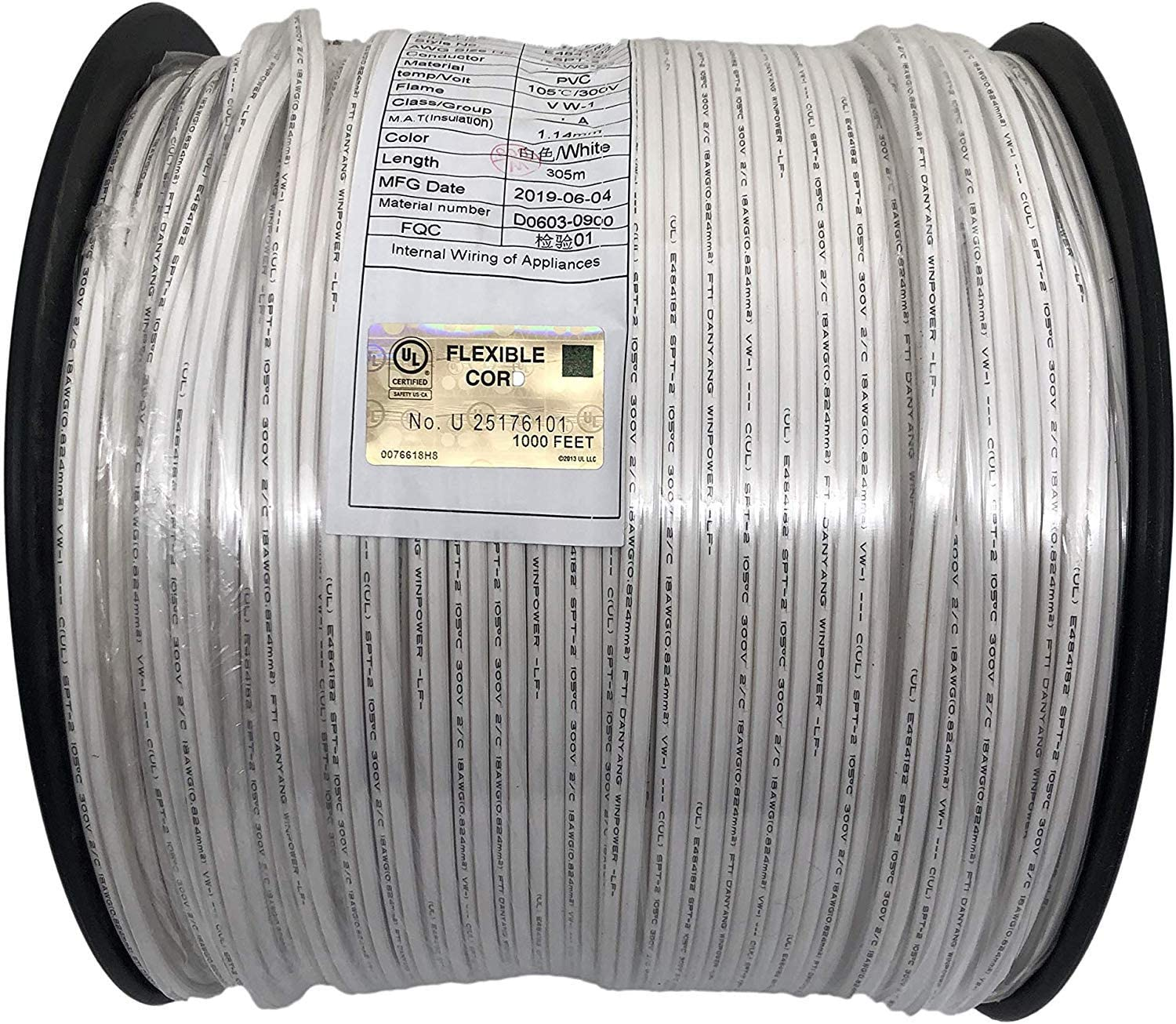 AJKD Zip Cord UL listed 18 Gauge/SPT-2 Extension Elctrical Wire (Spt2-1000ft, white)