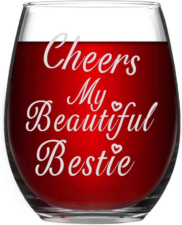 Cheers My Beautiful Bestie Stemless Wine Glasses |15oz Glass - best friend wine glasses for women,funny wine glass
