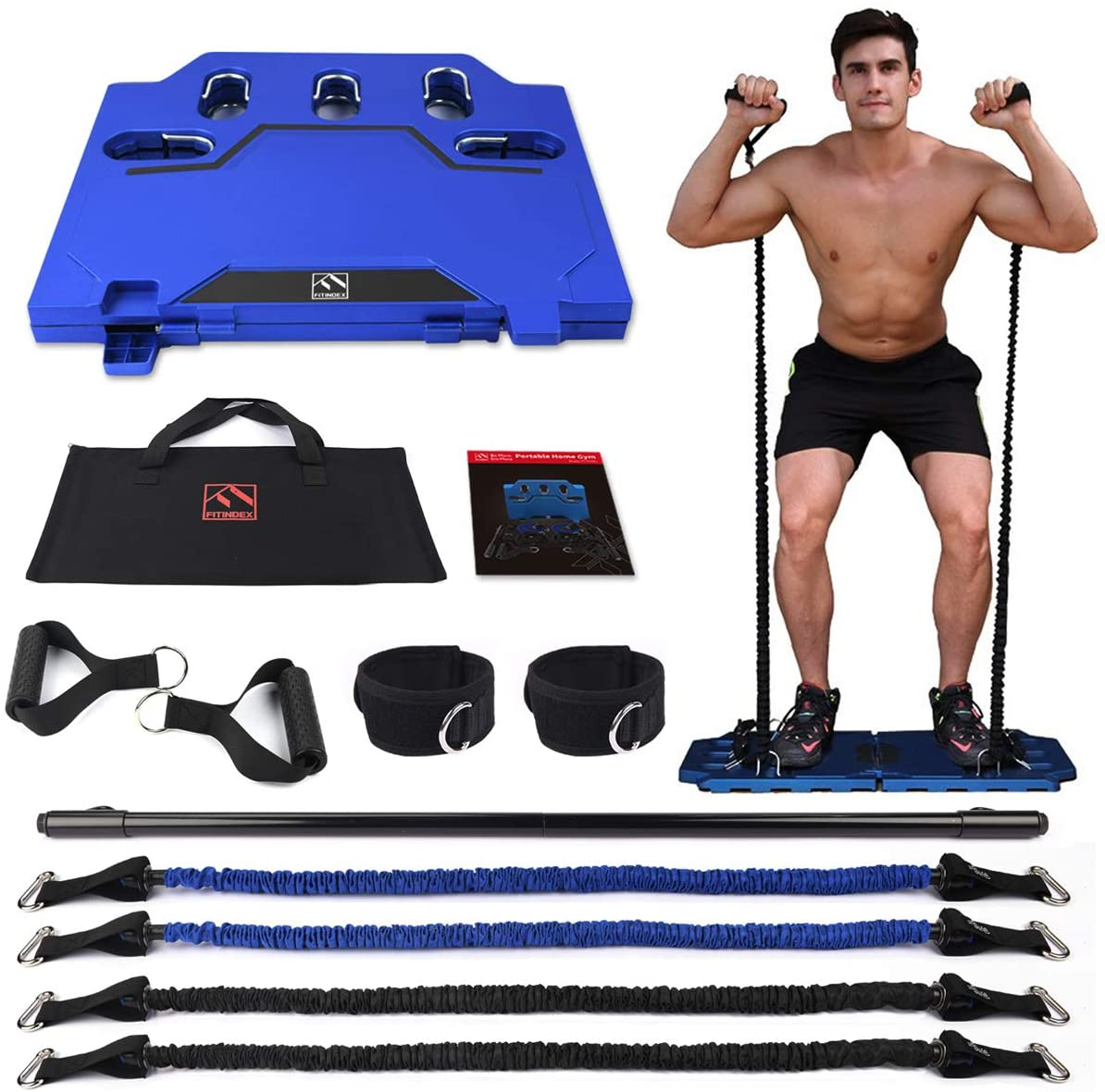 FITINDEX Portable Home Gym - Exercise Equipment with Resistance Bands & Workout Bar, Strength Training Workout Equipment for Men/Women, Full-Body Fitness Equipment for Indoor/Outdoor/Travel