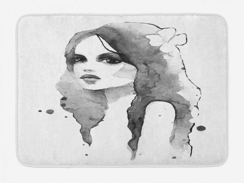 Ambesonne Feminine Bath Mat, Portrait of Girl in Watercolor Painting Effect Femininity Theme Creative Modern, Plush Bathroom Decor Mat with Non Slip Backing, 29.5