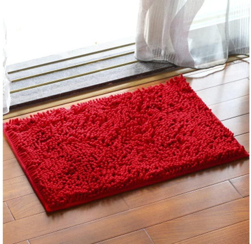 ChezMax Chenille Specific Color Non-Slip Indoor Outdoor Hello Doormat Large Small Inside Outside Front Door Mat Carpet Floor Rug Red 16