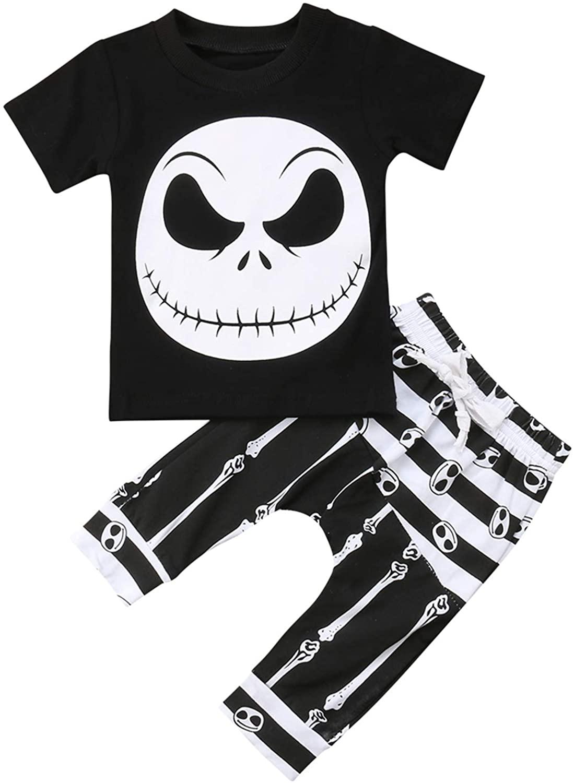 Infant 2PCS Boy Girl Skull Bone Print Halloween Clothing Set Short Sleeve T-Shirt+Elastic Waist Drawstring Long Pants