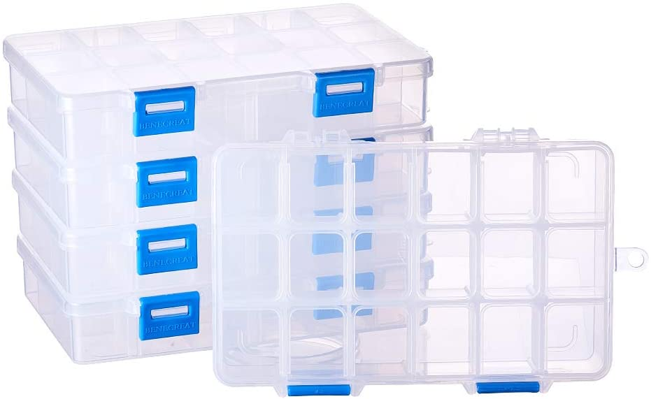 BENECREAT 5 Pack 18 Grids Jewelry Dividers Box Organizer Adjustable Clear Plastic Bead Case Storage Container 6.5 x 3.94 x 1.18 inch, Compartment: 1.18 x 0.98 x 1.02 inch