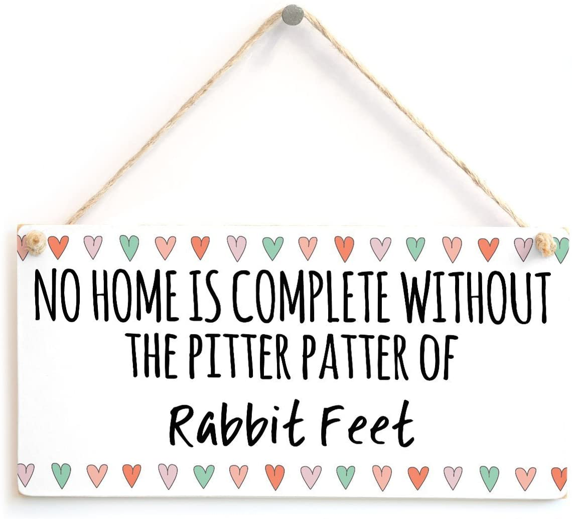 Meijiafei No Home is Complete Without The Pitter Patter of Rabbit Feet - Cute and Colourful Little Rabbit Lover Gift Plaque 10