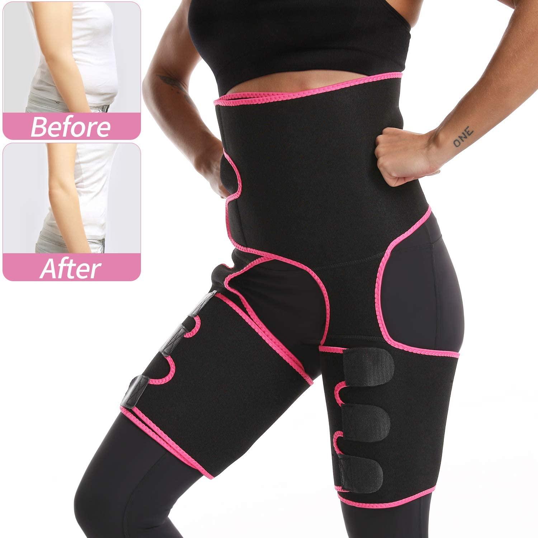 Aeruki Waist Trainer, High Waist and Thigh Trimmer, 3 in 1 Weight Loss Butt Lifter Waist Trainer Shaping Slimming Support, Hips Belt Trimmer Body Shaper for Women,Men(Black)