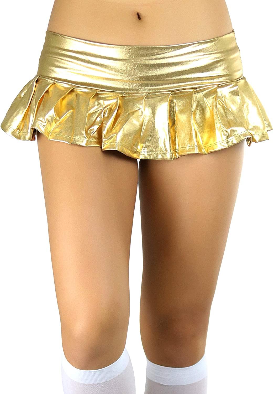 ToBeInStyle Women's Flirty Metallic Pleated Festival Ultra Micro-Mini Rave Skirt