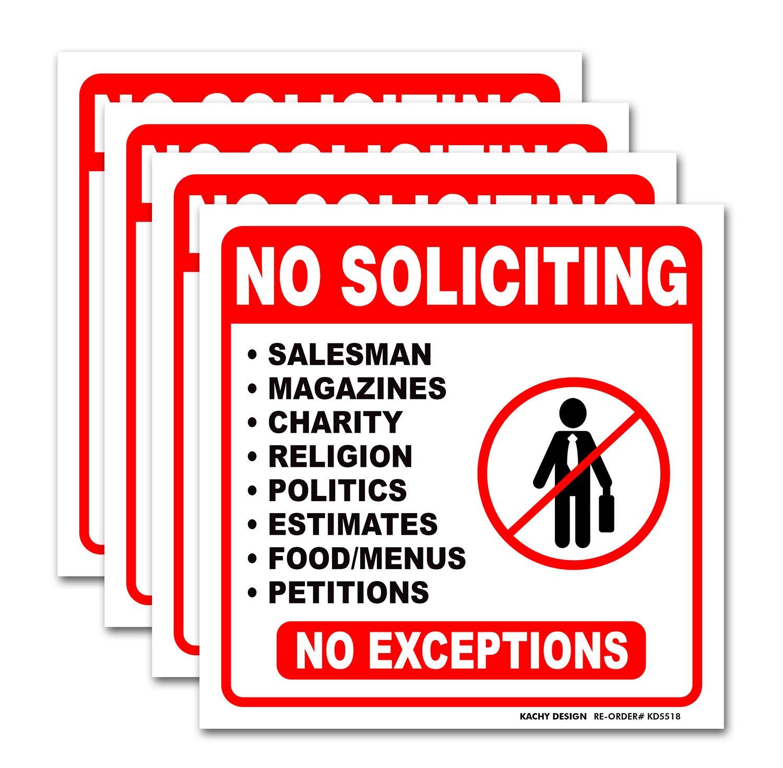 (Set of 4) No Soliciting Sign - 6