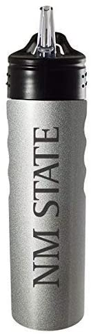 LXG, Inc. New Mexico State University-24oz. Stainless Steel Grip Water Bottle with Straw-Silver
