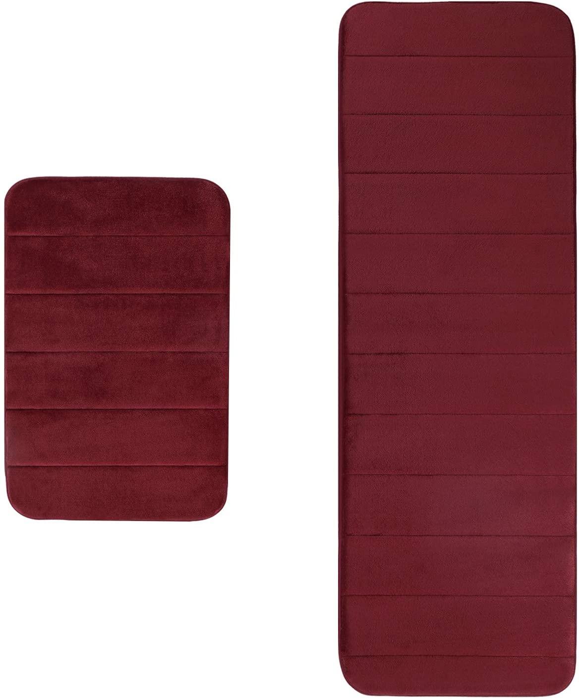 AOACreations Non Slip Soft Memory Foam Bathroom Runner Rug Mat Striped for Bath Kitchen (2PC Runner Set, Burgundy)