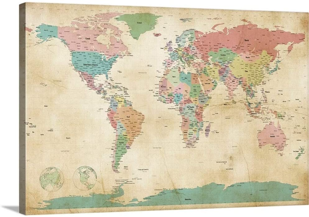 Political Map of The World Map, Antique Canvas Wall Art Print, 36