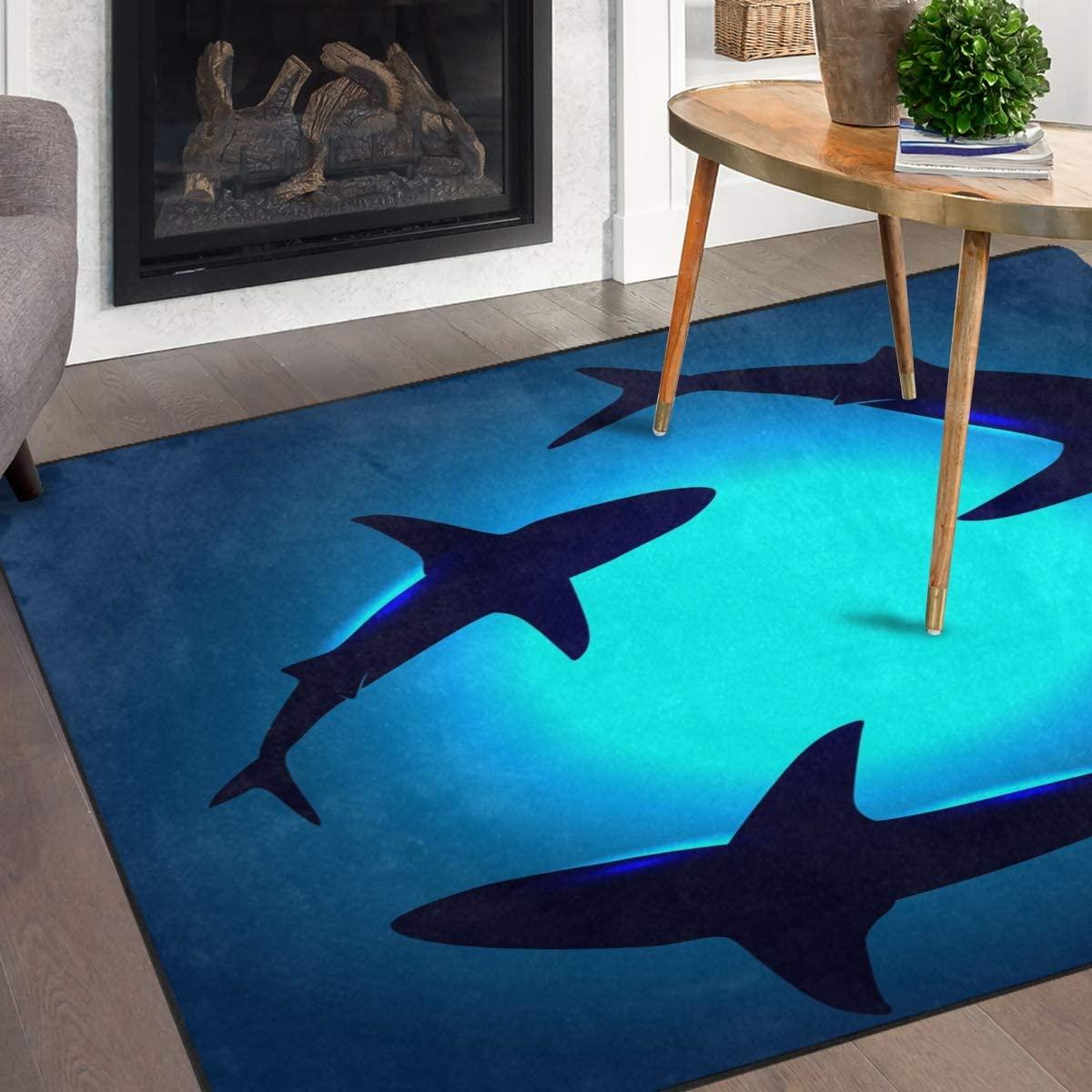 Naanle Ocean Animal Sharks Non Slip Area Rug for Living Dinning Room Bedroom Kitchen, 5' x 7'(58 x 80 Inches), Shark Nursery Rug Floor Carpet Yoga Mat