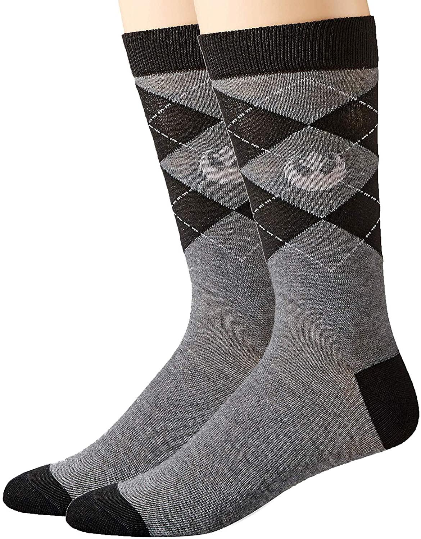 Hyp Star Wars Rebel Logo Argyle Top Half Men's Crew Socks Shoe Size 6-12