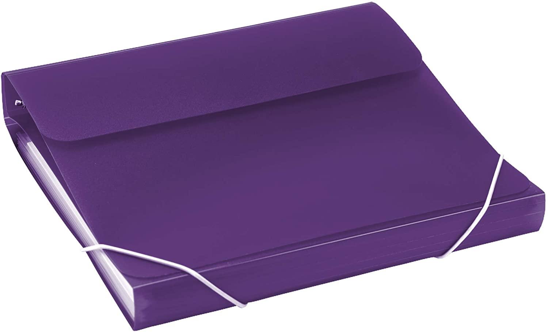 Samsill Duo 2-in-1 Organizer / 1 Inch 3 Ring Binder & File Organizer Combination/School Supplies/Paper Organizer/Purple/Updated Version SAM10137