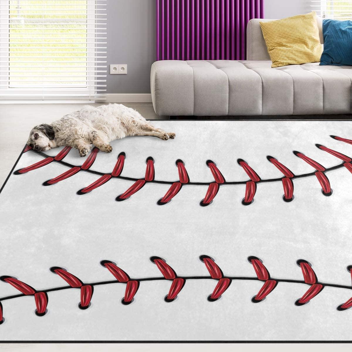 Naanle Sport Baseball Lace Non Slip Area Rug for Living Dinning Room Bedroom Kitchen, 5' x 7'(58 x 80 Inches), Sport Nursery Rug Floor Carpet Yoga Mat
