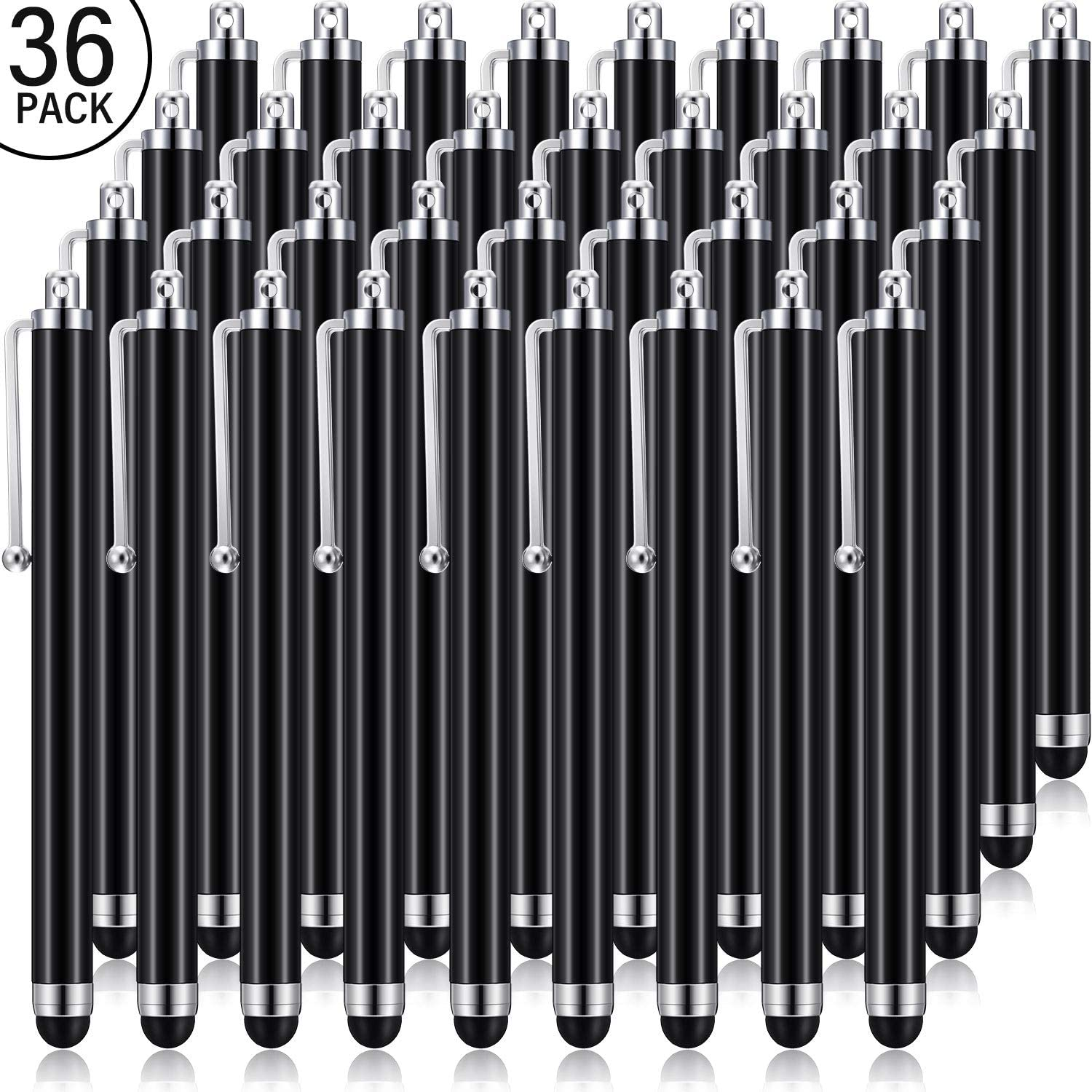 Stylus Pen Set of 36 for Universal Capacitive Touch Screens Devices, Stylus Pens for Touch Screens Devices, Compatible with iPhone, iPad, Tablet (Black)