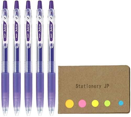 Pilot Juice 05 Retractable Gel Ink Pen, Extra Fine Point, 0.5mm, Violet Ink, 5-Pack, Sticky Notes Value Set