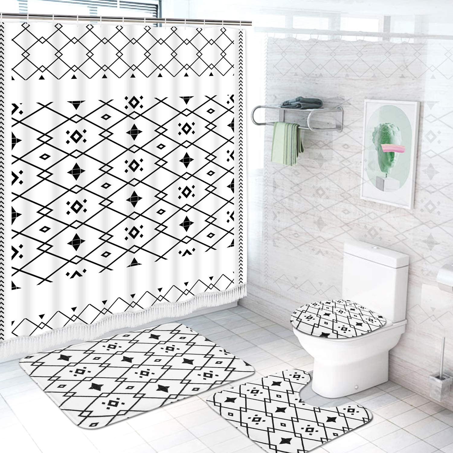 Ikfashoni 4 Pcs Black and White Tassel Shower Curtain Sets with Non-Slip Rug, Toilet Lid Cover and Bath Mat, Aztec Shower Curtains with 12 Hooks, Geometric Shower Curtain for Bathroom