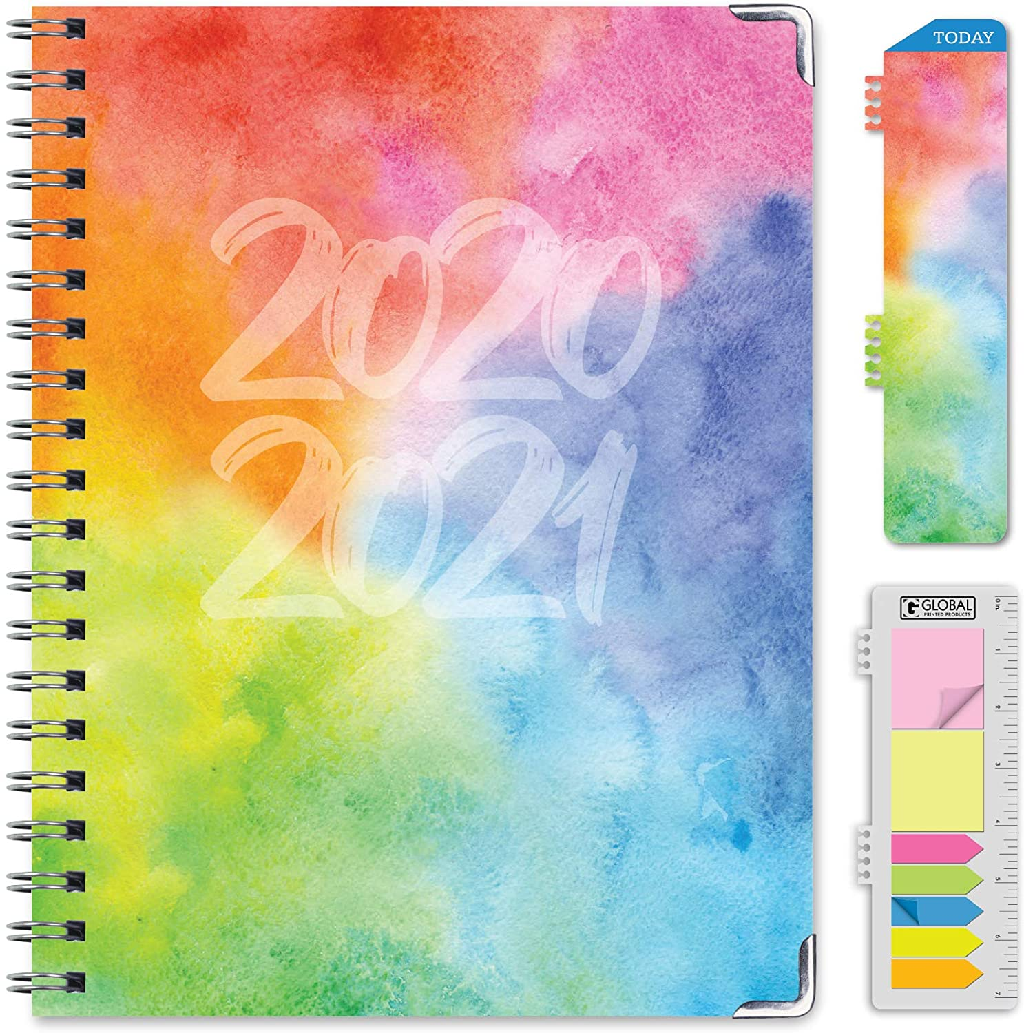 HARDCOVER Academic Year 2020-2021 Planner: (June 2020 Through July 2021) 8.5x11 Daily Weekly Monthly Planner Yearly Agenda. Bonus Bookmark, Pocket Folder and Sticky Note Set (Rainbow Watercolors)