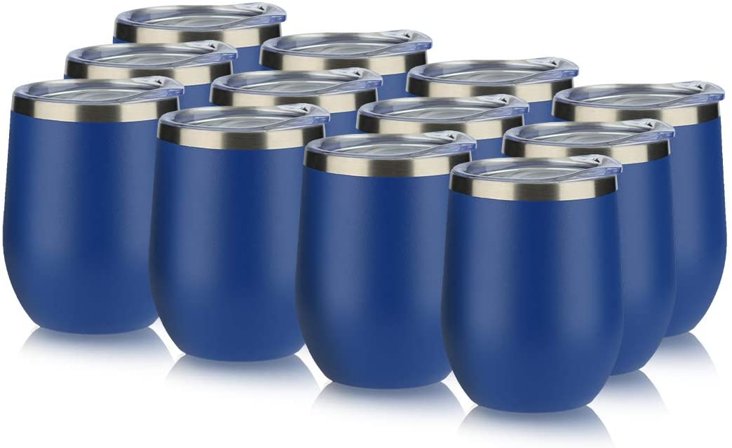 DOMICARE Insulated Wine Tumbler with Lid (12 Pack, Dark blue) - 12 OZ Stemless Double Wall Vacuum Traval Mug - Keeping Cold & Hot for Wine, Coffee, Cocktails, Drinks