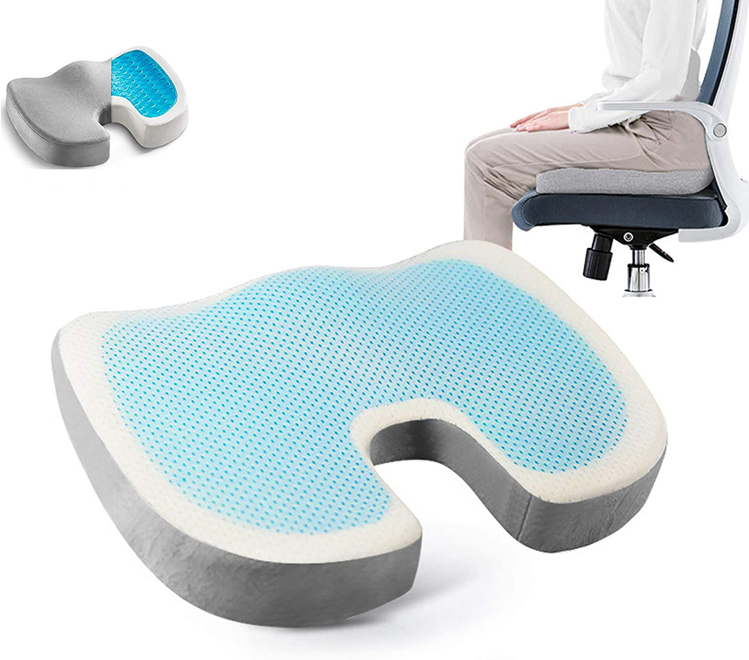 Luiryare Gel Seat Cushion Memory Foam Coccyx Orthopedic Pad Office Chair Car Tailbone Pillow Relieves Back, Hip, Tailbone, Sciatica Pain (White, One Size)