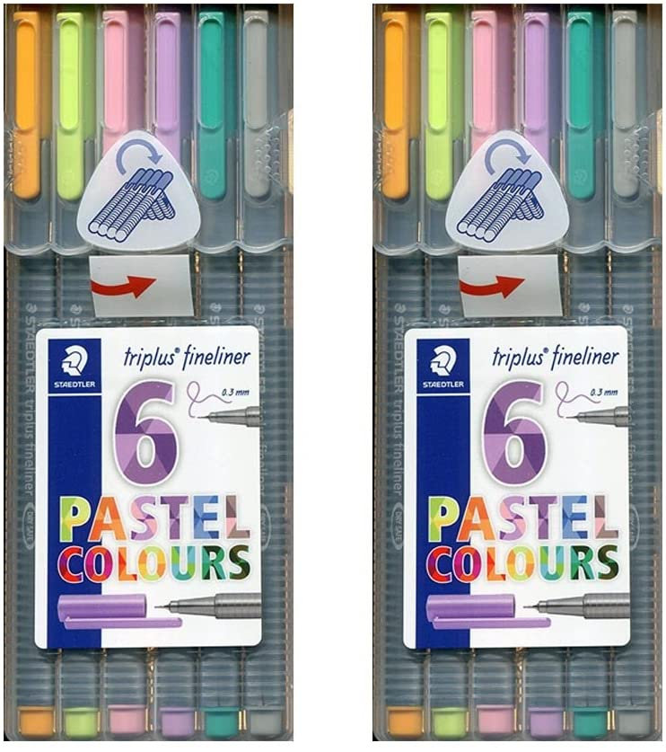 2 Pack of 6 Staedtler Triplus Fineliner Pens 6-Color Pastel