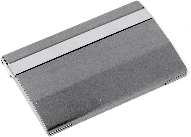 Vertical Slim Brushed Silver (Wide) Metal Business Card Holder
