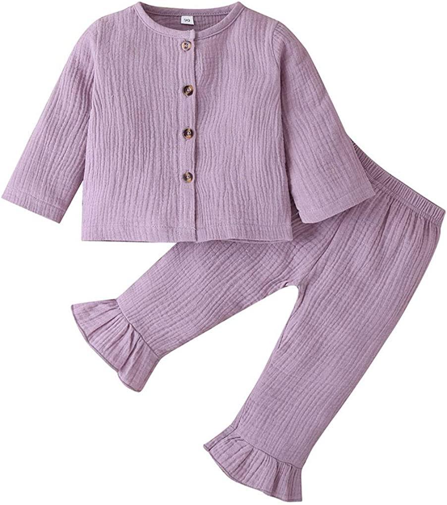 Newborn Baby Girl Fall Clothes Cotton Linen Long Sleeve Button Top+Bell-Bottom Ruffle Pant Set 2pcs Autumn Outfit