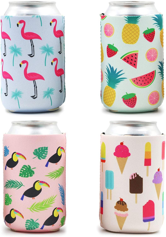 Blue Panda 12-Pack Summer Beer Can Sleeves (Flamingo, Tropical Fruit, Toucan, Ice Cream)