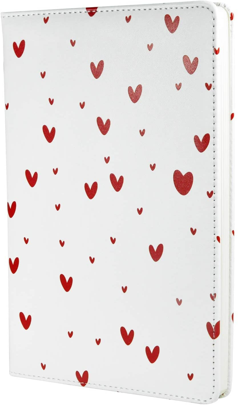 Cute Notebook Journal, A5 Size 5.5 X 8.3 inches, Dotted Grid Page, 200 Pages, Hard Cover, Fine PU Leather (love heart)