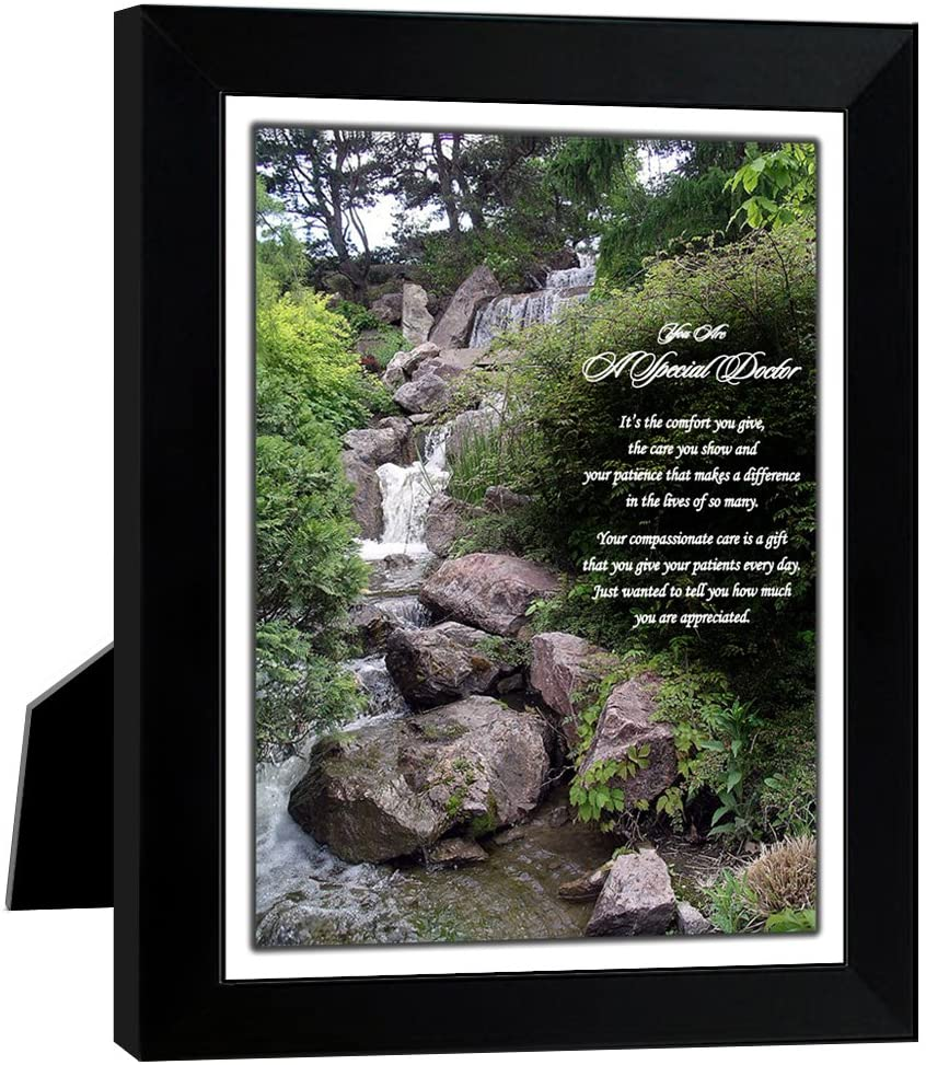 It's The Comfort You Give Doctor Gift - Waterfall Photo with Poem in 8x10 Inch Frame