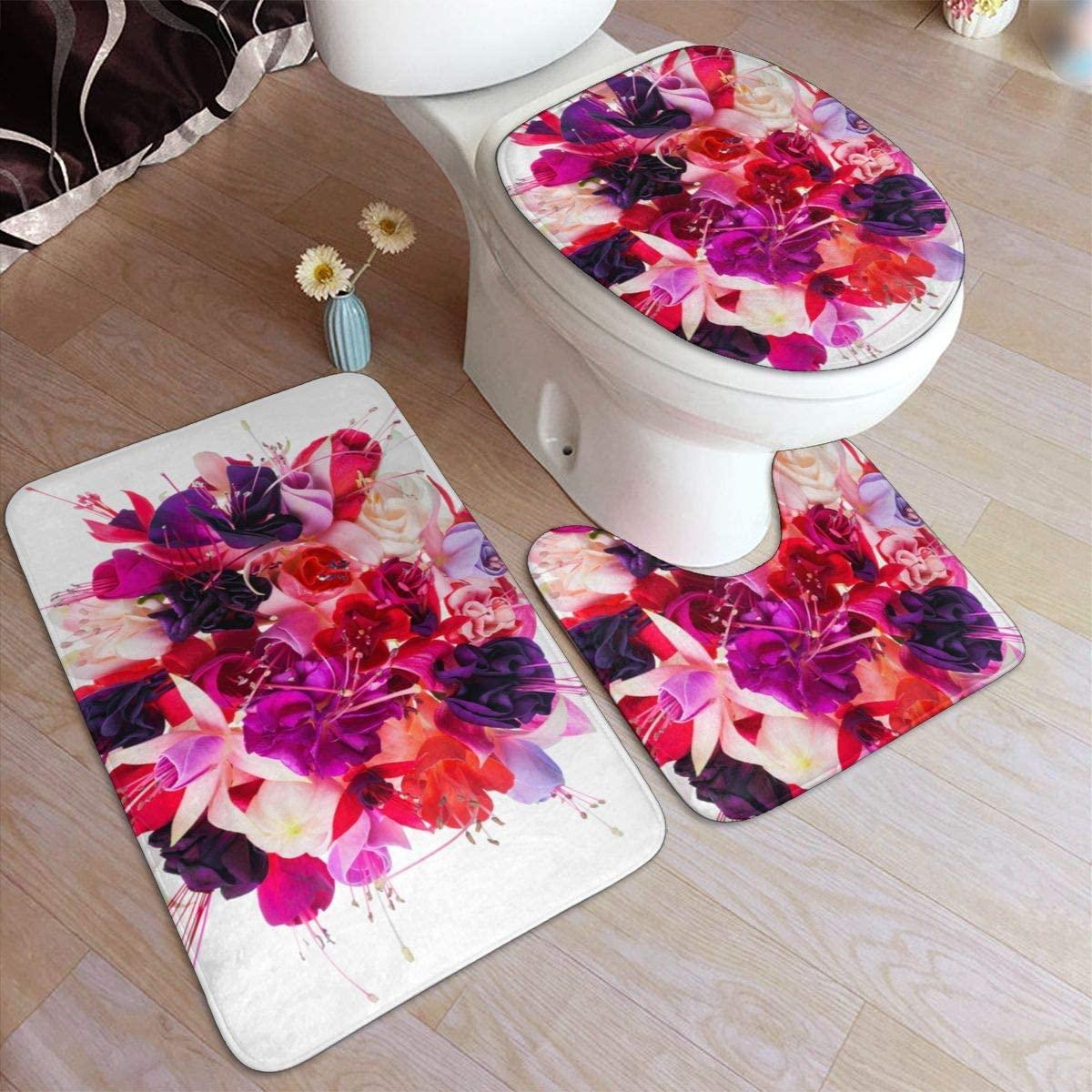 Bath Rugs Toilet Three-Piece Floor mat, Delicate Flower Flannel Embossing Bath Rugs 50x80cm