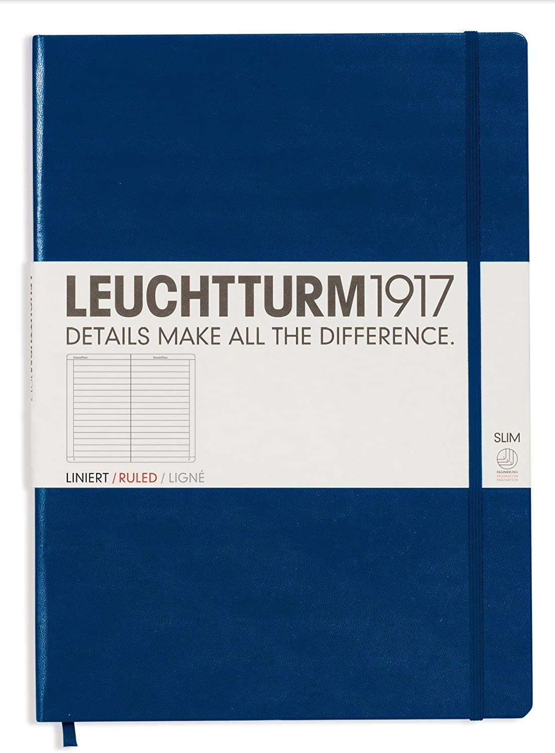 Leuchtturm1917 Master Slim Hardcover Ruled Notebook- 121 Numbered Pages, Navy