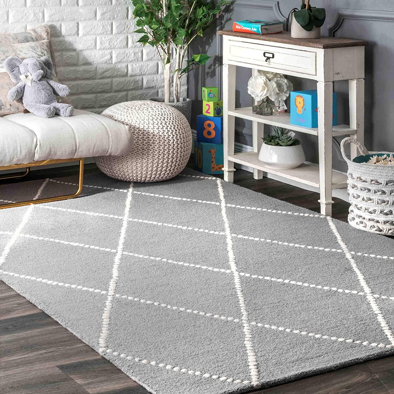 nuLOOM Dotted Diamond Trellis Wool Rug, 6' x 9', Light Gray