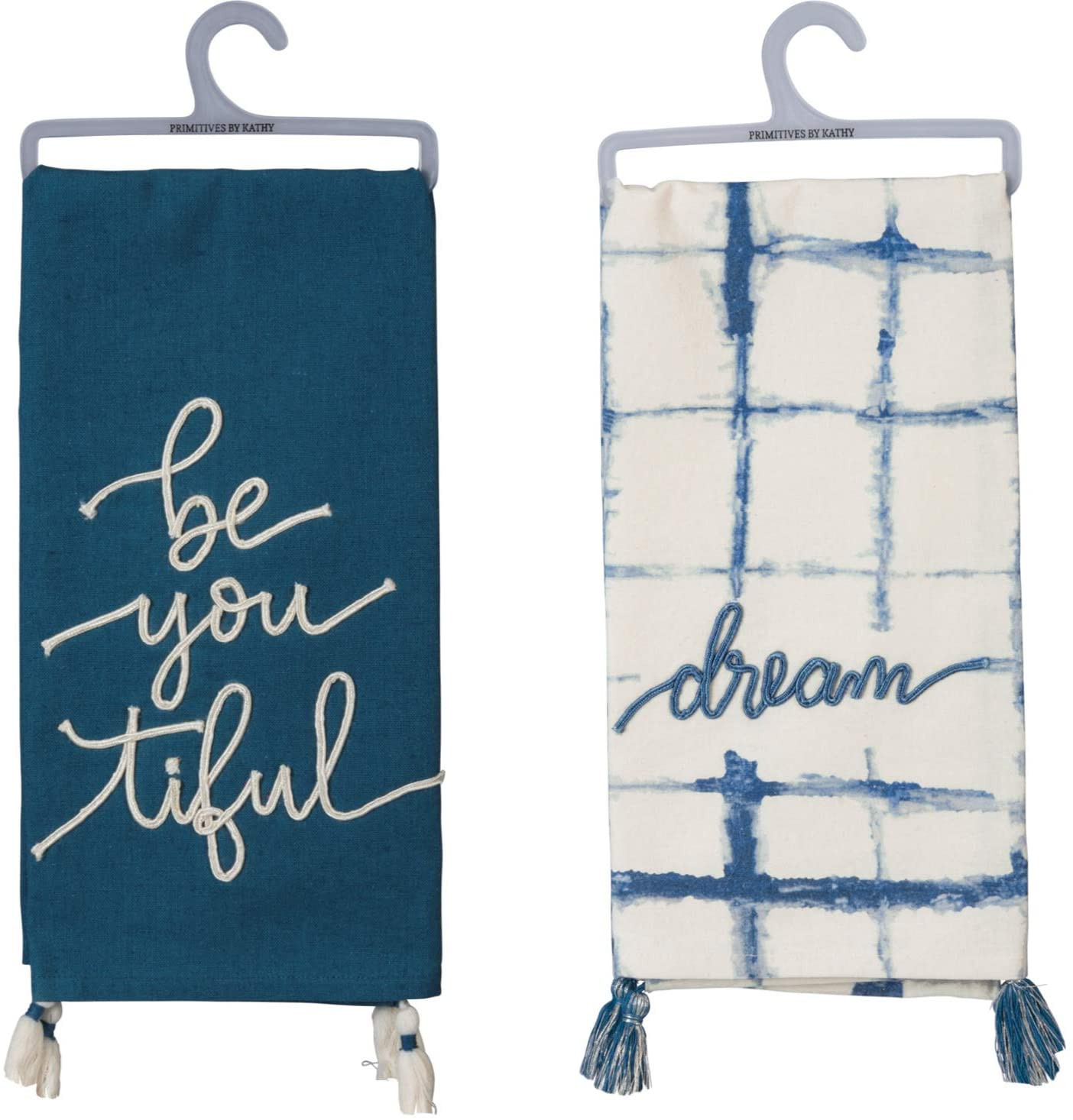 Primitives by Kathy Kitchen Dish Towel Set | Bundle Includes: (1) Cream and Indigo Dish Towel with Dream Stitched on The Front, and (1) Indigo Dish Towel with be You Tiful Stitching
