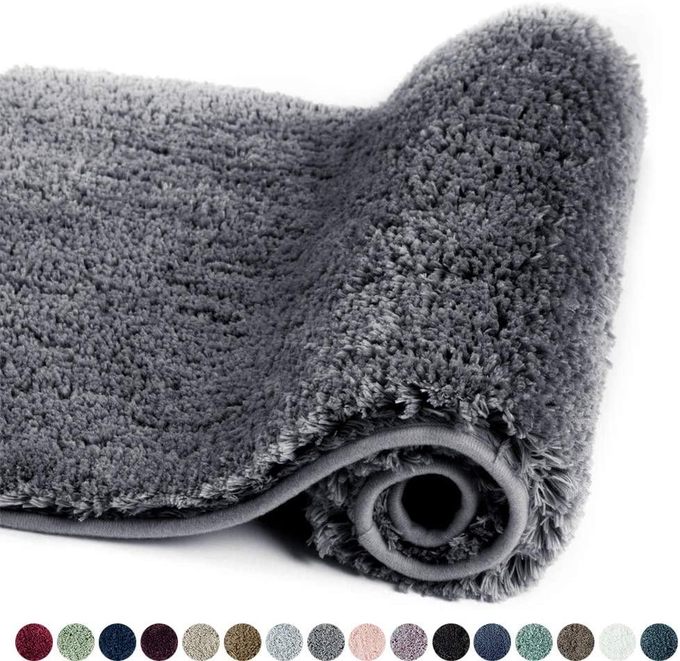 Walensee Bathroom Rug Non Slip Bath Mat for Bathroom (16 x 24, Dark Grey) Water Absorbent Soft Microfiber Shaggy Bathroom Mat Machine Washable Bath Rug for Bathroom Thick Plush Rugs for Shower