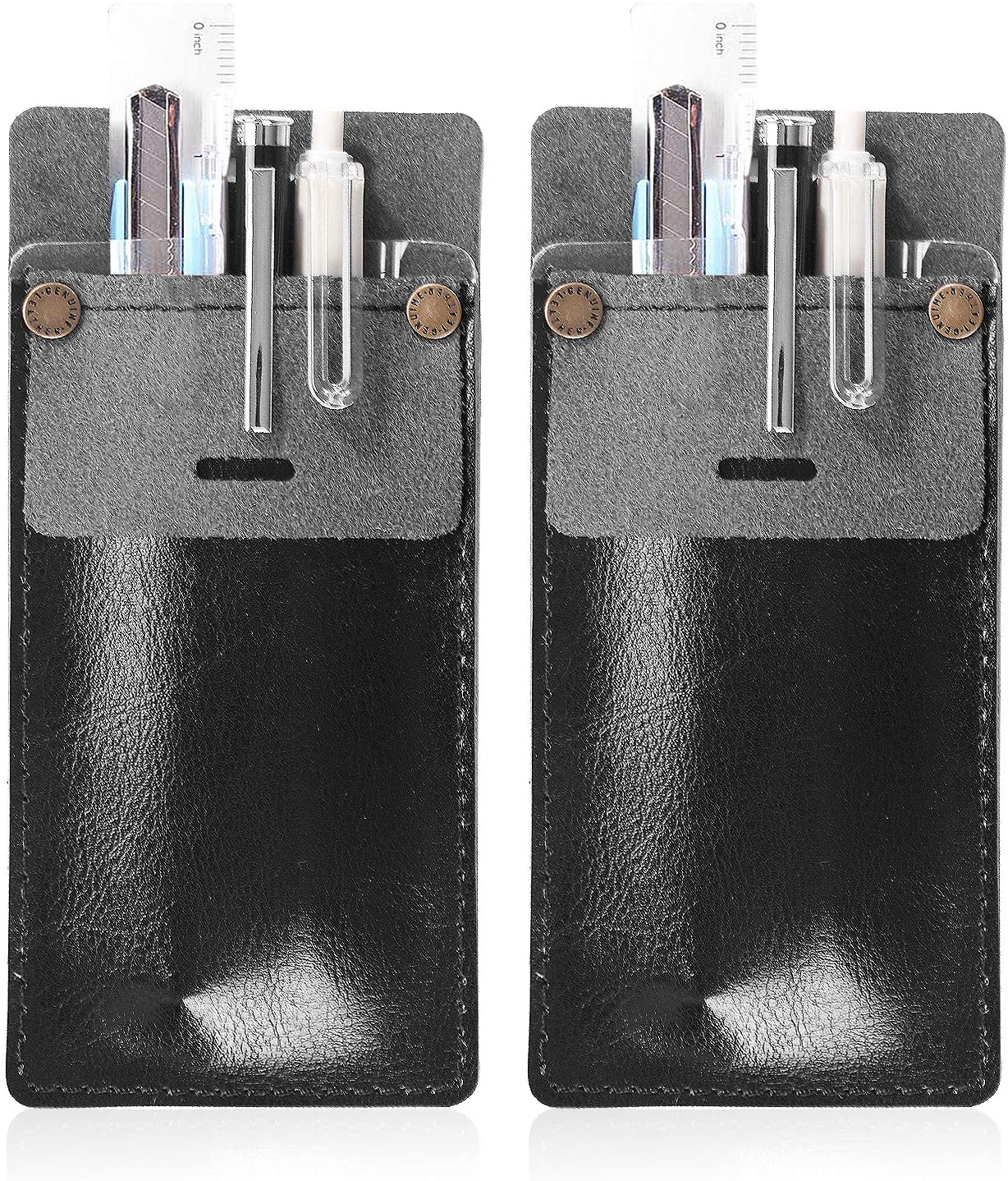 CRIPOP 2 Pack Leather Pocket Protectors,Pen Holders Pencil Holders for Shirts, Lab Coats