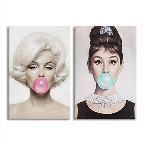 Marilyn Monroe Audrey Hepburn Gum Canvas Print 2 Piece Set Chewing Gum Pop Art Home Decor (18in x 24in Bundle Framed)