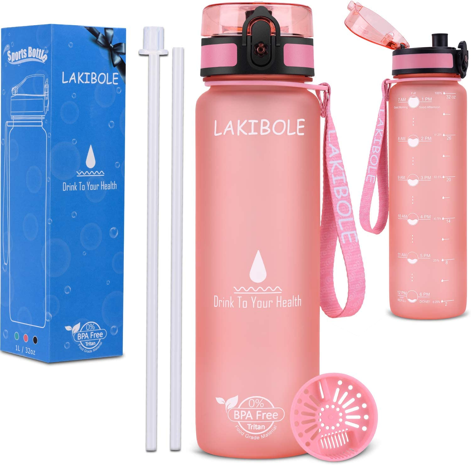 LAKIBOLE 32 oz Straw Water Bottle BPA Free with Time Marker, Gym Water Bottle with Straw for Fitness, Outdoor Enthusiasts, Leakproof & Durable