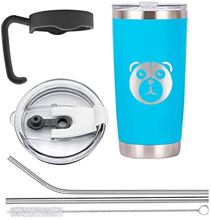Polar Bear Double Wall Tumbler with Handle | Light Blue 20 Oz. Mug | Includes A Sliding Lid, A Straw Lid and 2 Metal Straws Plus Metal Straw Cleaner
