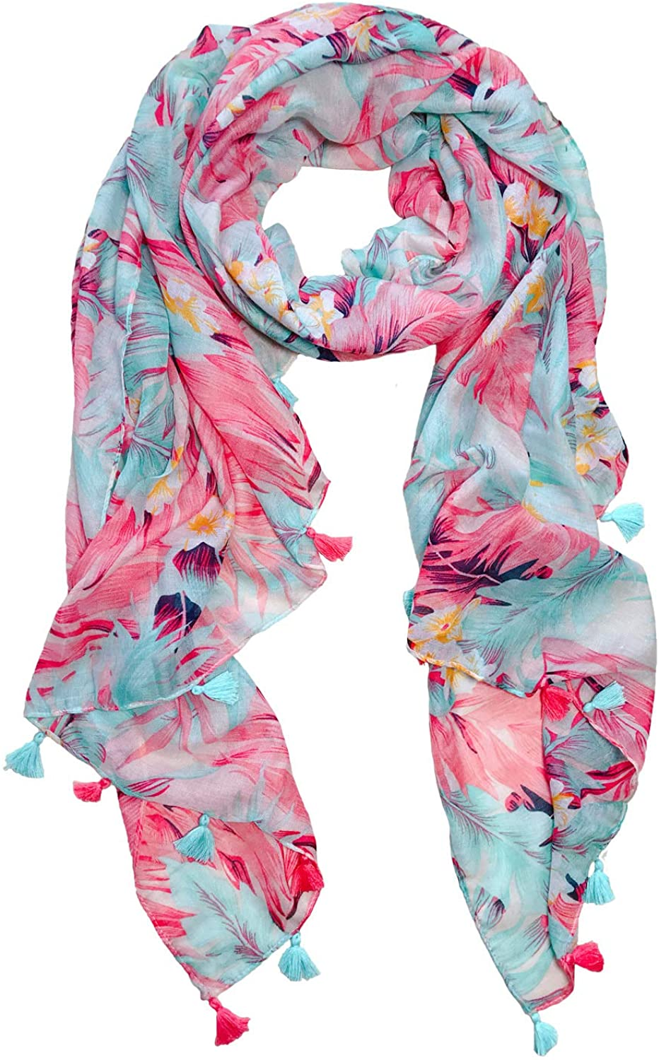 Lightweight Scarves for Women Floral Flower Print Spring Winter Fashion Wraps With Tassel