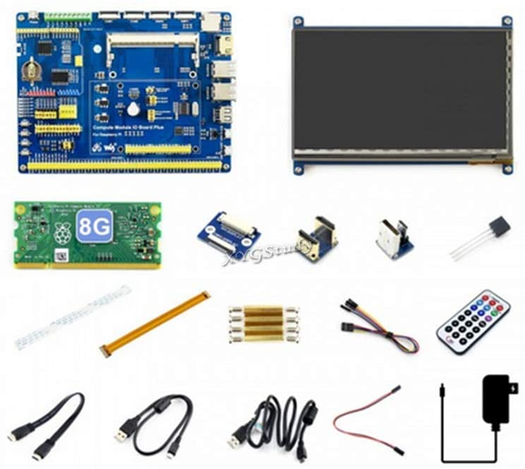 XYGStudy Raspberry Pi Compute Module 3+ Development Kit Type B 8GB with CM3+ IO Board 7inch HDMI LCD (C) DS18B20 IR Remote Controller