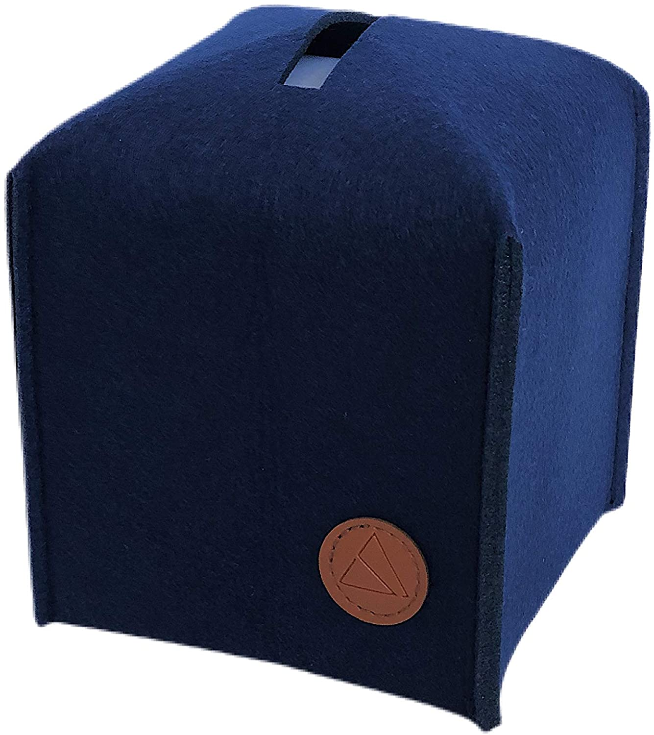 Landas Supply Felt Tissue Box Cover, Square Slide Out Facial Tissue Cover for Bathroom Vanity Countertops, Bedroom Dressers, Night Stands, Desks and Tables (Navy Blue)