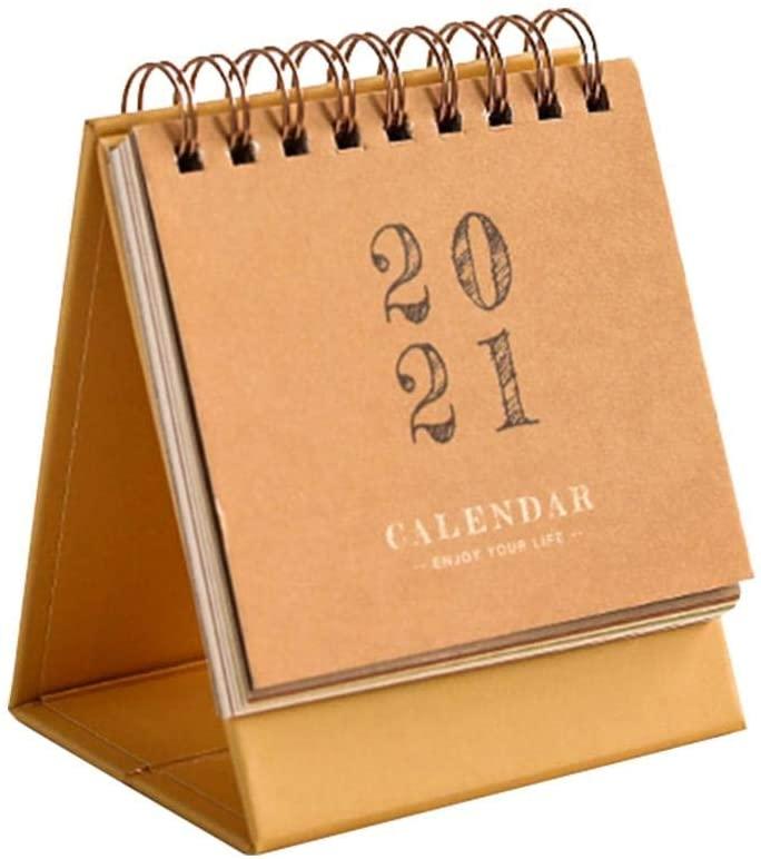 N/F 2020 Mini Calendar Standing Desk Cute Desktop Standing Flip Monthly Calendar on Easel for Home or Office