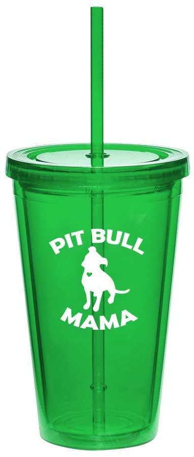 16oz Double Wall Acrylic Tumbler Cup With Pitbull Mama (Green)