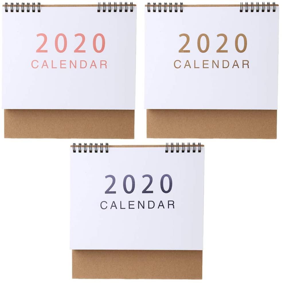 UNTERING Simple Desktop Standing Paper 2020 Double Coil Calendar Memo Daily Schedule Table Planner Yearly Agenda Desk Organizer