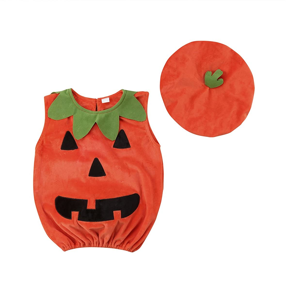 Infant Baby Girls Boys Pumpkin Costumes Romper Bodysuit Costume for Halloween Cosplay Party Christmas Fancy Dress Outfit
