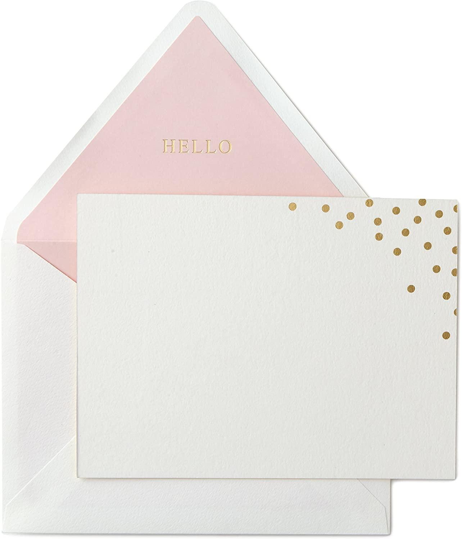 Hallmark Correspondence Card, Signature Gold Gold Dot