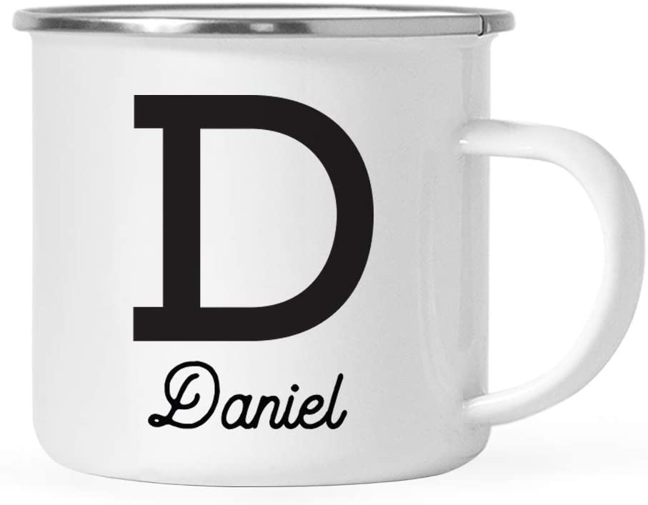 Andaz Press Personalized 11oz. Stainless Steel Campfire Coffee Hot Chocolate Mug Gift, Camp Monogram Initial Letter D, 1-Pack, Custom Birthday Christmas Outdoors Metal Enamel Camping Camp Cup
