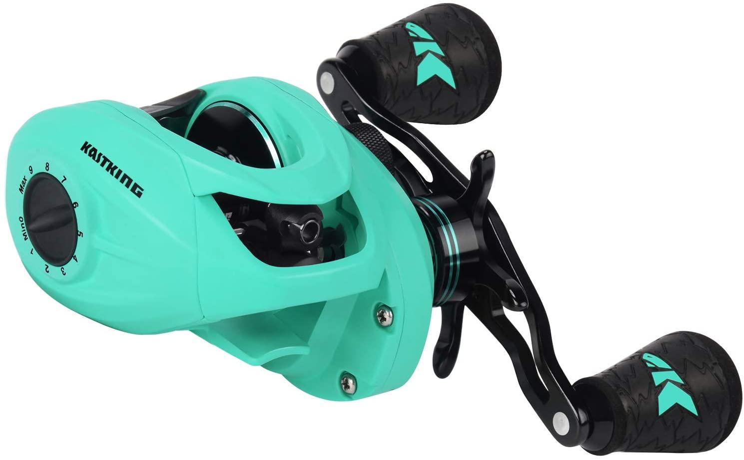 KastKing Crixus Baitcasting Reels, 6.5:1/7.2:1 Gear Ratio Fishing Reels, 17.6lbs Carbon Disc Drag, Super Polymer Grips,Carbon Infused Nylon Frame,8-pc Magnetic Brake, Low Profile Reel.