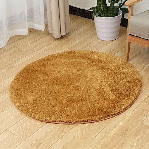S-ssoy Soft Artificial Berber Fleece Round Rug Flexible Smooth Carpet/Mat For Stairway,Toilet,Study,FloorBedroom,Living Room,Bathroom,Kitchen,Home Decoration,Area Rug Khaki Diameter 120cm